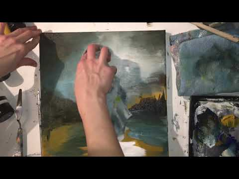 Abstract landscape painting time lapse with painting technique tips
