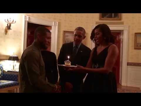 Barack & Michelle Obama Sing Happy Birthday to Usher!
