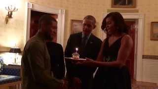 Barack & Michelle Obama Sing Happy Birthday to Usher!