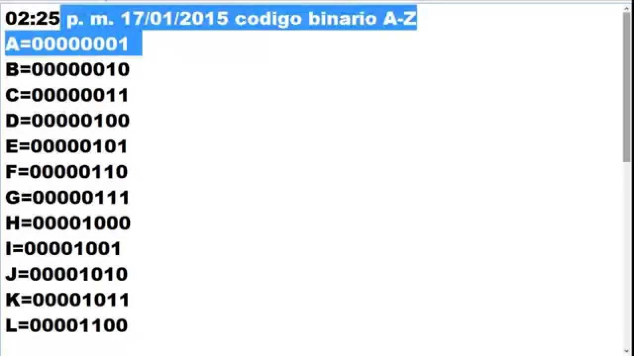 Los Codigos Binarios De Las Letras A Z Youtube