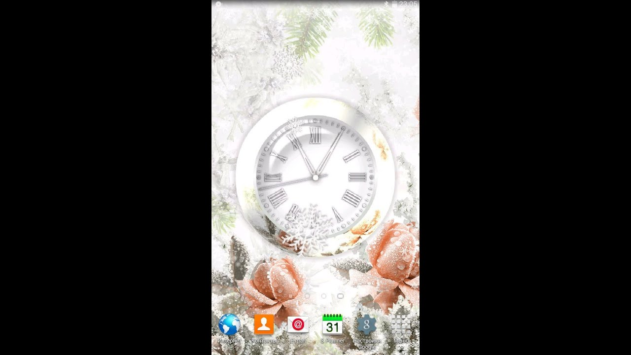 Clock Winter Rose live wallpaper for OS Android - YouTube