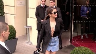 SELENA Gomez extremely REVEALING TOP at her hotel in Paris