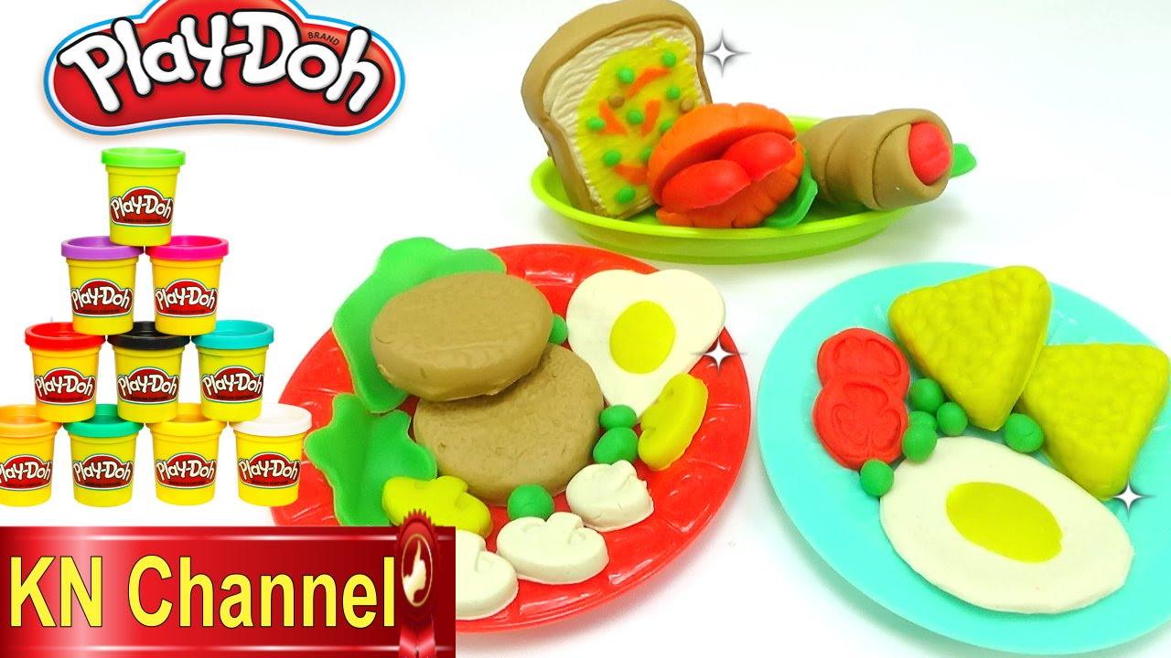 Hướng dẫn Làm bữa ăn sáng bằng Đất nặn Play doh Creative Fun mold Kids toy