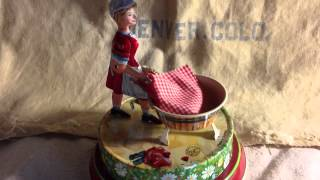 2004 Wagner/Brunn German Wind Up Litho Woman Washing Toy