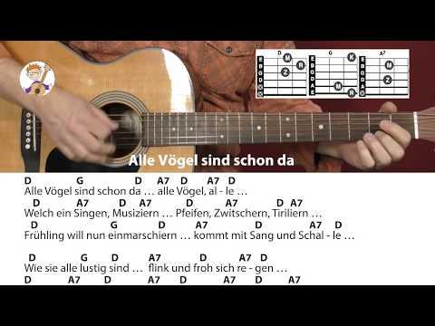 Alle Vögel Sind Schon Da - Frühlingslied, Akkorde & Text Für Gitarre Zum Mitspielen