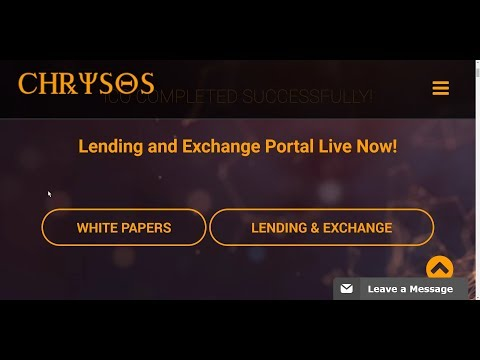 Chrysos $CHR = $14 Launches LIVE! Lending and Exchange Portal Live Now! Jan 31st 2018