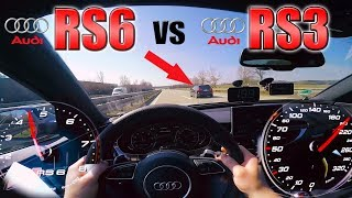 RS6 Performance chasing tuned RS3 on German Autobahn ✔