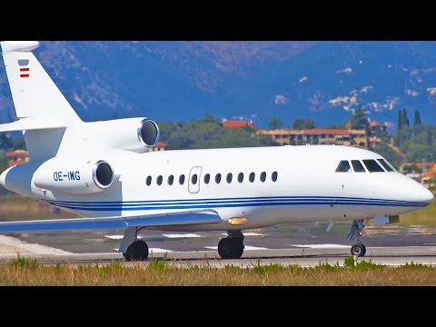 Plane Spotting at Corfu Airport - Part 5 - Executive Aircraft Arrivals and Departures [1080p HD]