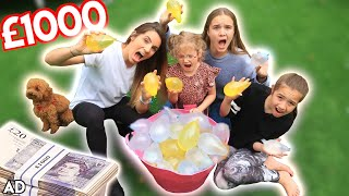 LAST to GET WET WINS £1000-WATER BALLOON CHALLENGE , BUNCH O BALLOONS!