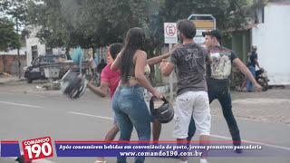 www.comando190.com.br - Após consumirem bebidas em conveniência de posto, jovens promovem pancadaria