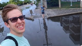 Crossing Flooded Streets in Cartagena Colombia