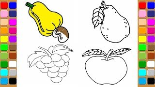How to draw fruit coloring page for kids I learn coloring book with friut