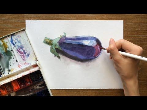 Как нарисовать баклажан акварелью