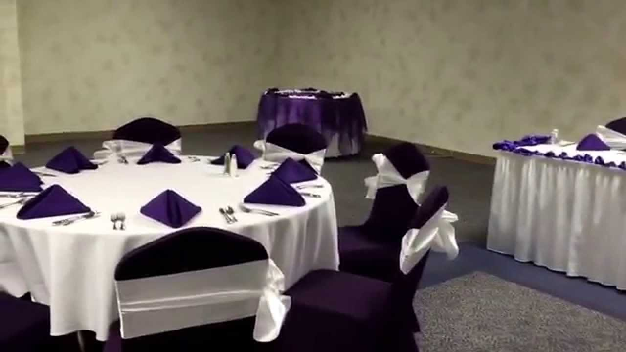 White And Regency Purple Wedding Reception At Diamond Event Center