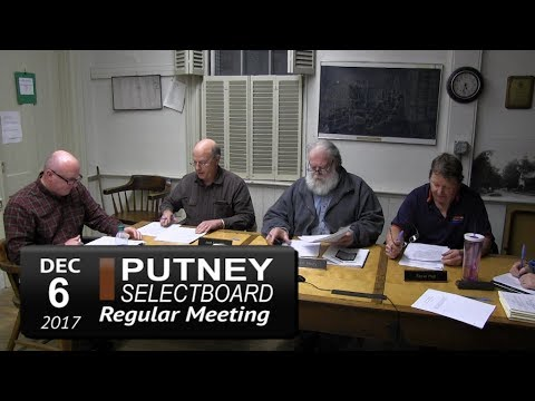 Putney Selectboard Meeting 12/6/17