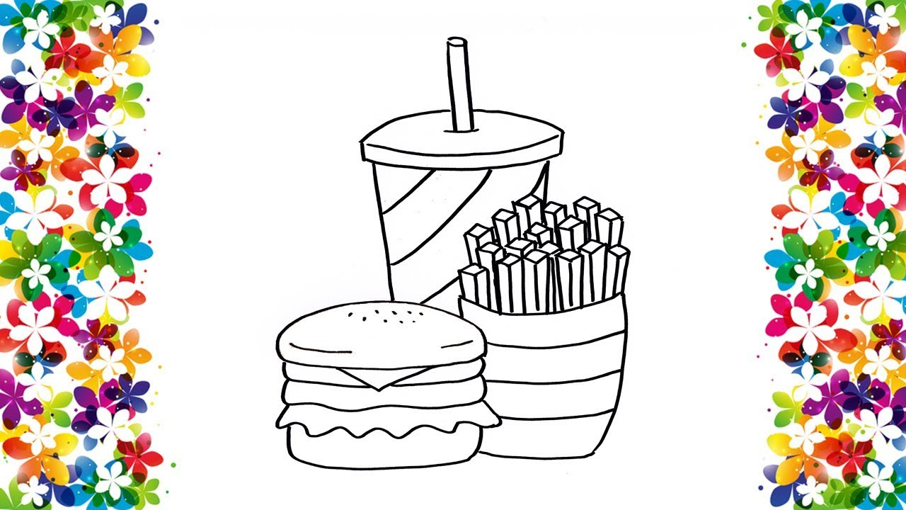 How To Draw A Burger Meal Kids Easy Drawing And Coloring Art Learning And Fun