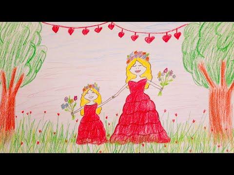 Anneler Günü Resim Çizimi♥️Pastel Boya ile