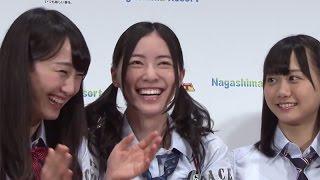 人気アイドルグループ「SKE48」の松井珠理奈さんが8月11日、東京都内で行われた三重県の複合型レジャー施設「ナガシマリゾート」の広報大使就任発表会に登場。この日 ...
