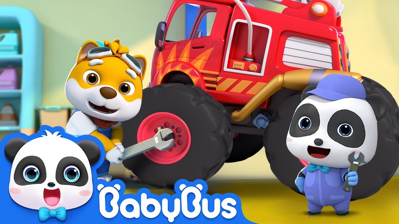 Monster Truck's Little Helper   Fire Truck, Police Car🚒🚓   Nursery Rhymes   Kids Songs   BabyBus