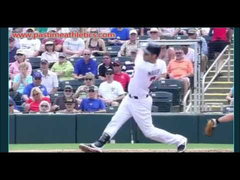 Joe Mauer Slow Motion Home Run Baseball Swing - Hitting Mechanics Instruction Twins MLB