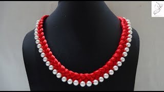 How to make silk thread necklace//pearl necklace