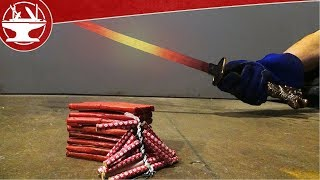 EXPERIMENT Glowing 1000 Degree SWORD VS FIRECRACKERS IN SLOW-MOTION!