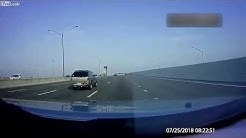 Dashcam-Dump Truck Crashes into Overhead Road Sign on Interstate-595 Caught on Dashcam