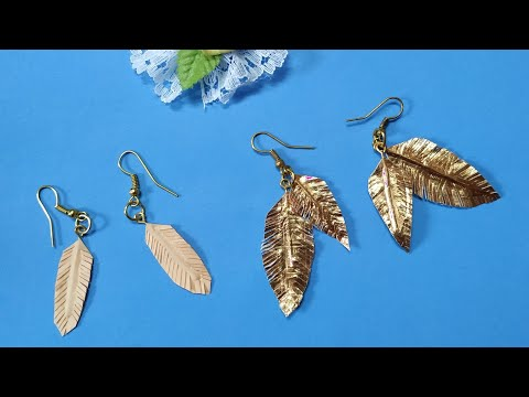 How to make feather earrings at home using colour paper | feather earrings | sweety trendzzz
