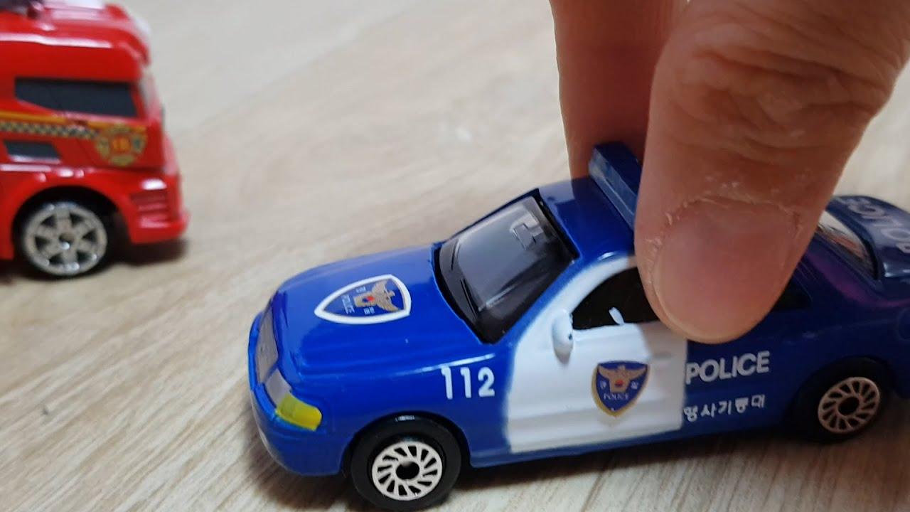Hand toy car play | police car, sports car, fire wagon, truck