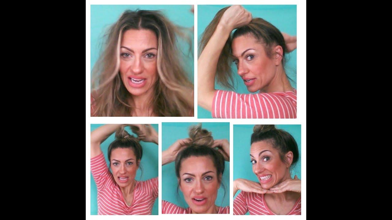 Super Easy Cute Granny Hair Bun Top Knot Tutorial Youtube