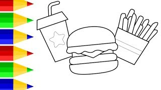 Coloring for Kids with Crying Hamburger, French Fries & Soda - Colouring Book for Children