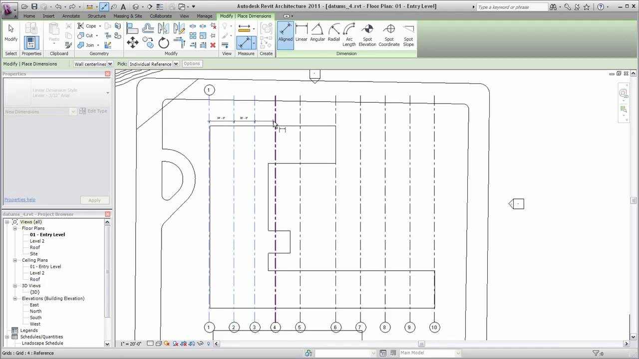 Autodesk Revit Architecture Adding Grid Lines Youtube Making A Home Wiring Diagram