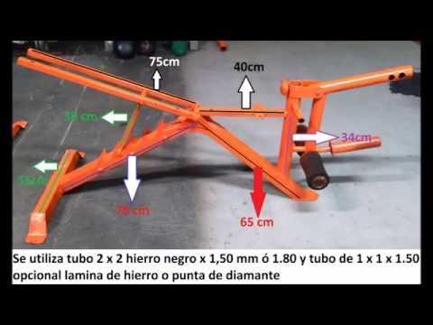 Como hacer maquinas para gym banca plana youtube for Maquinas para gym