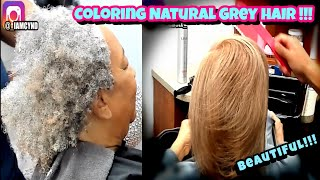 HOW TO DO A SILK PRESS ON THIN NATURAL GREY HAIR!!!