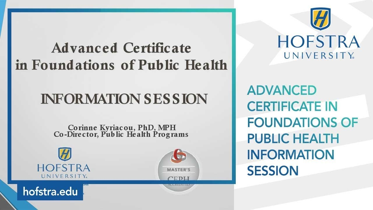 Advanced Certificate In Foundations Of Public Health Information