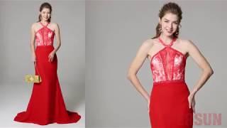 9c084d3f272 Robe de soirée sirène moulante rouge à haut bloc-couleur   Robe de soirée  PERSUN