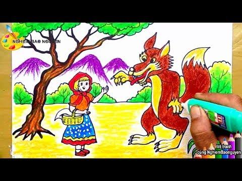 Vẽ tranh Cô bé quàng khăn đỏ