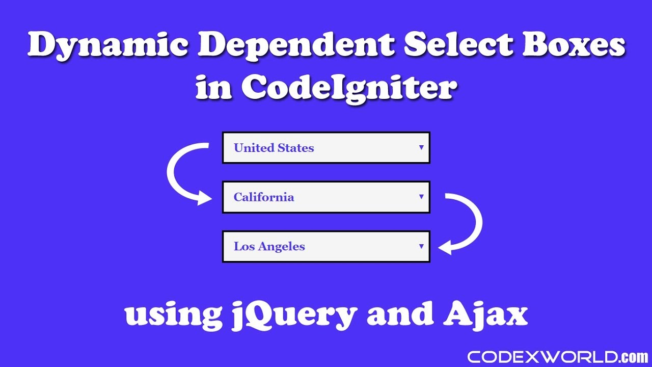 Dynamic Dependent Dropdown in CodeIgniter using jQuery and