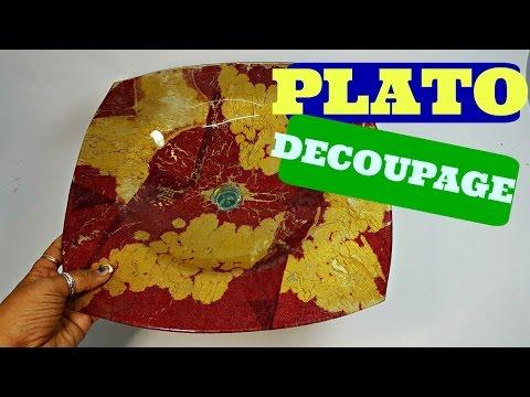 CESTA  PLATO DE CRISTAL Y SERVILLETA EN DECOUPAGE- LAS COSAS DE LA LOLA - DECOUPAGE IN GLASS DISH
