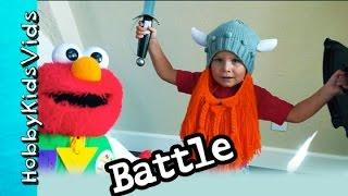 Elmo Battles HobbyBear Viking Fight! NinjaFrog + HobbyPuppy and HobbyPig HobbyKidsVids