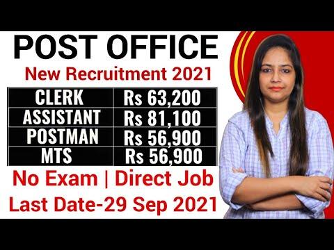 Post Office Recruitment 2021 New Vacancies 2021 Post Office Vacancy 2021 Govt Jobs Sep 2021 Aug 2021