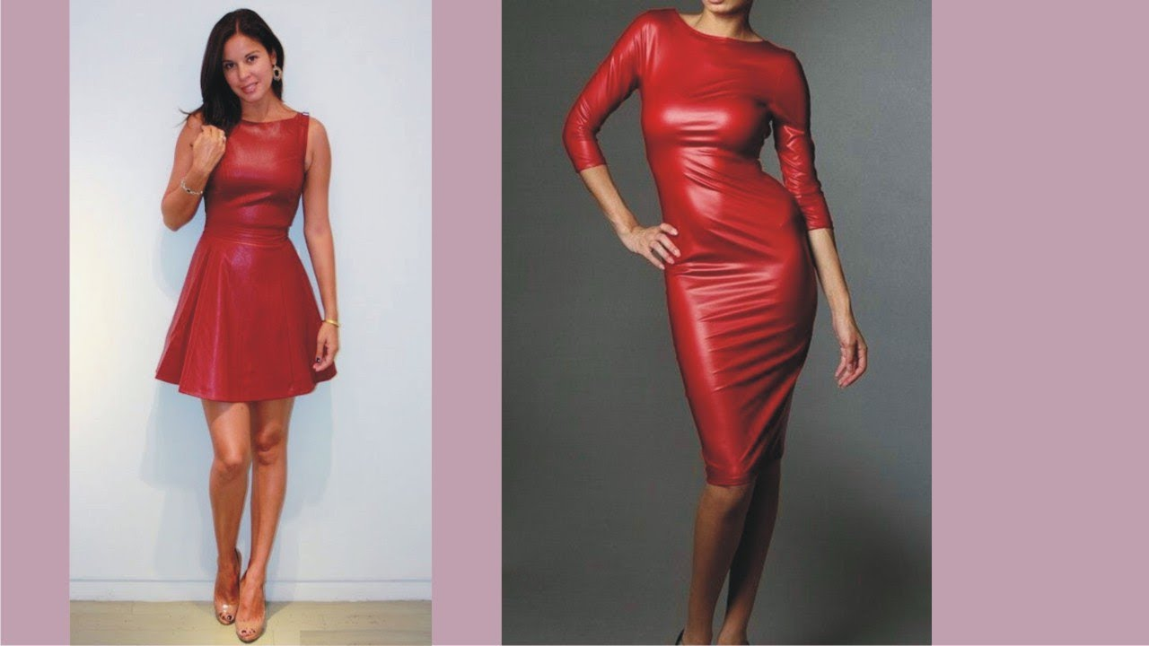2019 year style- Red dress leather