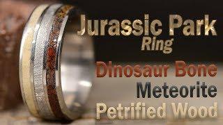 DIY Jurassic Park Ring: Made From Dinosaur Bone, Meteorite, Petrified Wood, and Titanium