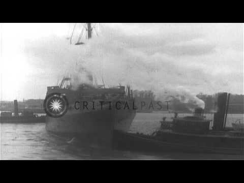 US ship SS Manchuria in New York Harbor, and steam ship passes by Statue of Liber...HD Stock Footage