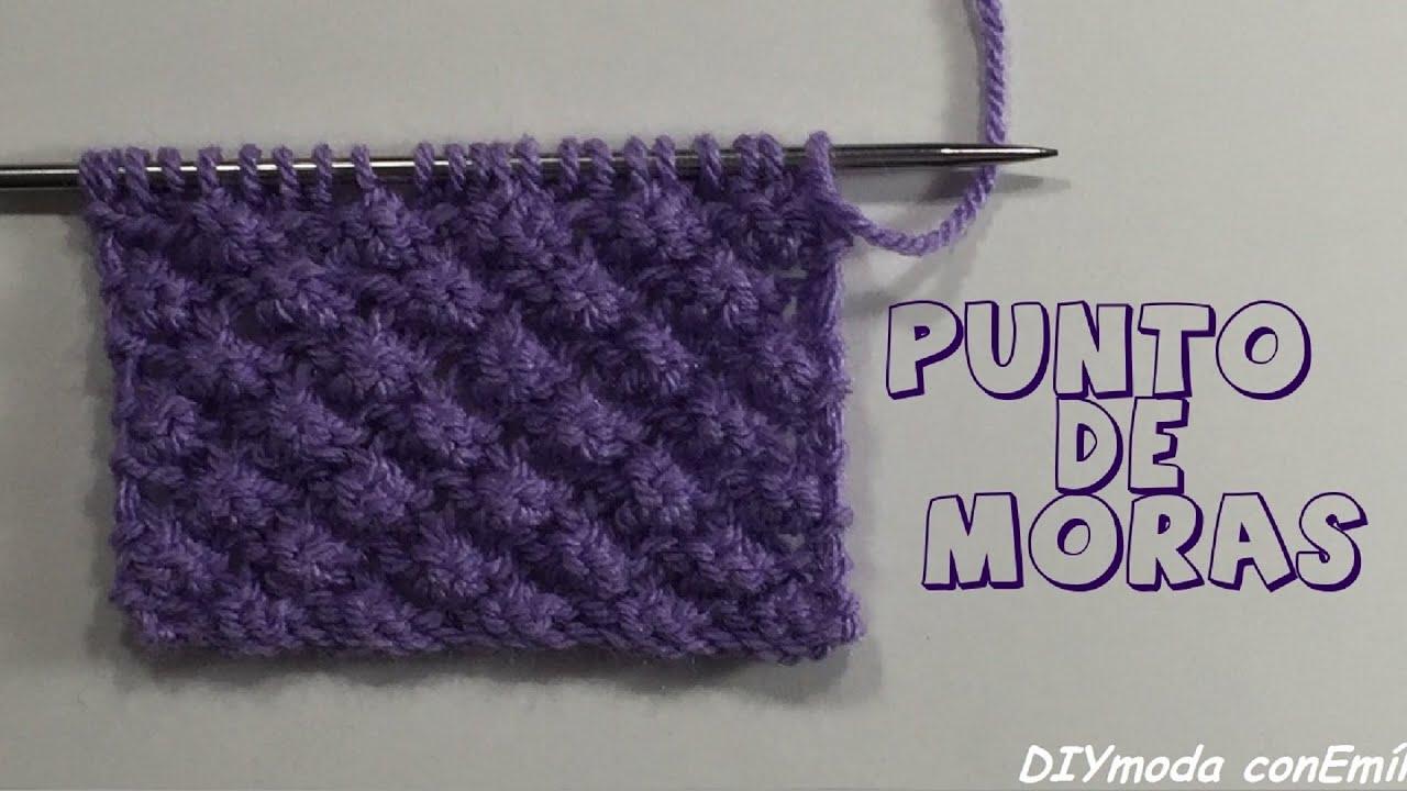 C mo tejer punto fantas a de moras en dos agujas youtube - Puntos de agujas de lana ...