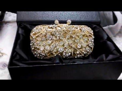 2016 Gold Evening Bag for Women Rhinestone Crystal Clutch Bridal Purse Bag ba885e10e2d37