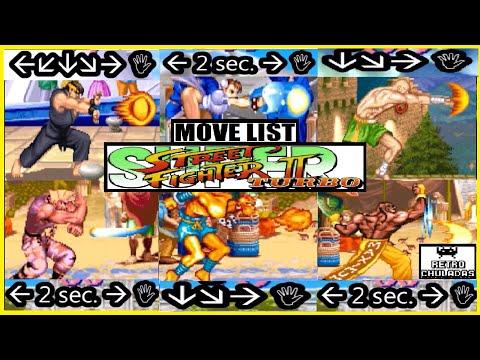 Super Street Fighter 2 Turbo - Move List -All Characters 💥 Lista de Movimientos-Todos los Personajes