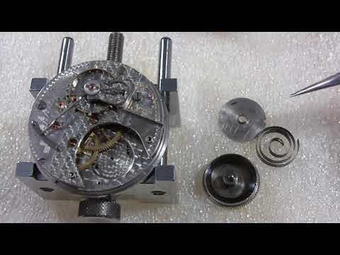 How I install a pocket watch mainspring, Hamilton 940, going barrel