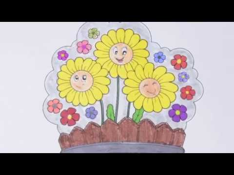 HOW To Color a Flower Basket ! Coloring Pages Activity For Kids & Toddlers