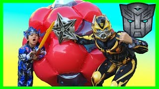 GIANT BALL SURPRISE OPENING Transformer Toys with Ryan
